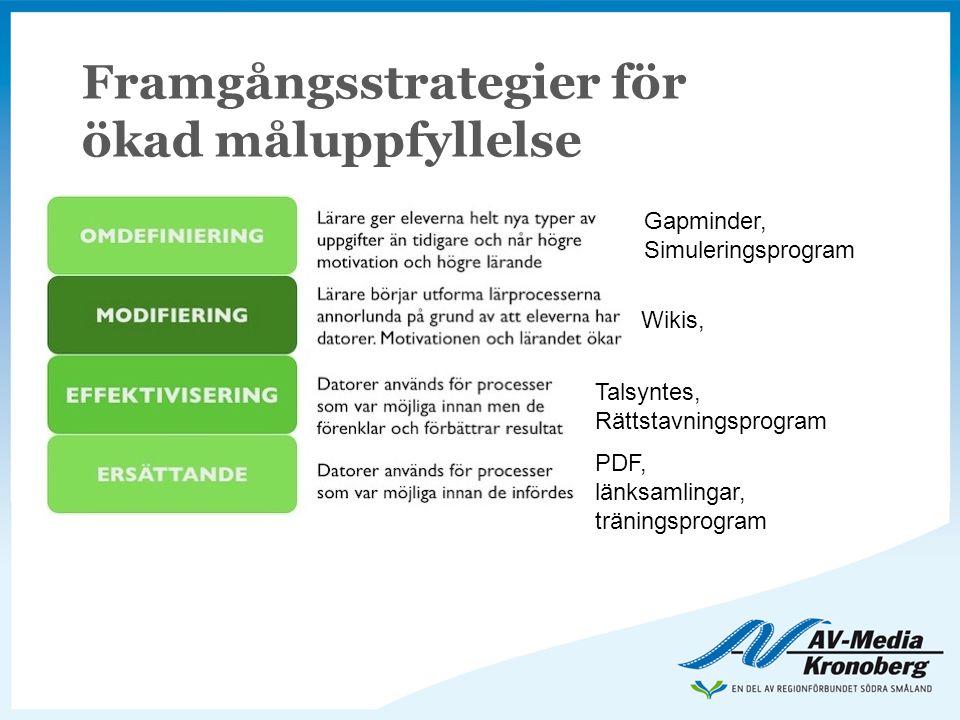 Framgångsstrategier för ökad måluppfyllelse PDF, länksamlingar, träningsprogram Talsyntes, Rättstavningsprogram Wikis, Gapminder, Simuleringsprogram