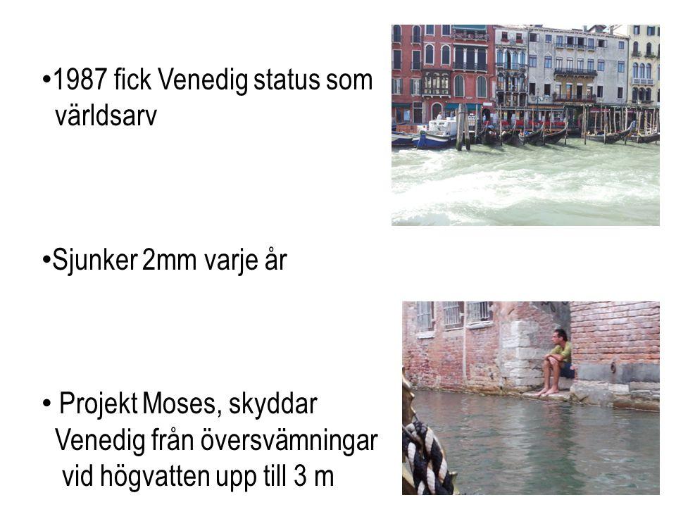 • 1987 fick Venedig status som världsarv • Sjunker 2mm varje år • Projekt Moses, skyddar Venedig från översvämningar vid högvatten upp till 3 m