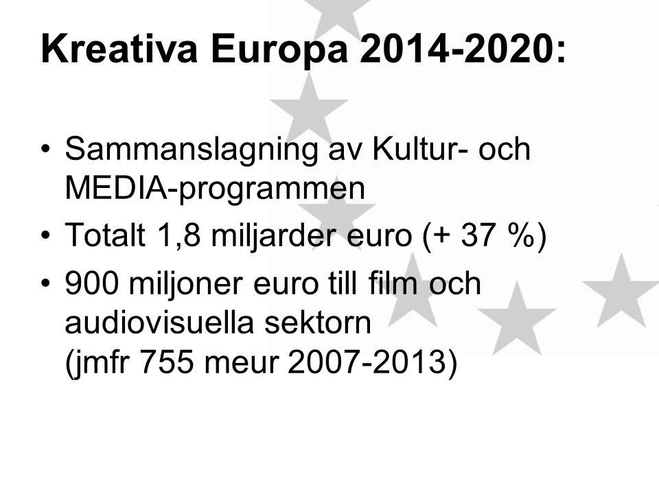 Kreativa Europa 2014-2020: •Sammanslagning av Kultur- och MEDIA-programmen •Totalt 1,8 miljarder euro (+ 37 %) •900 miljoner euro till film och audiovisuella sektorn (jmfr 755 meur 2007-2013)