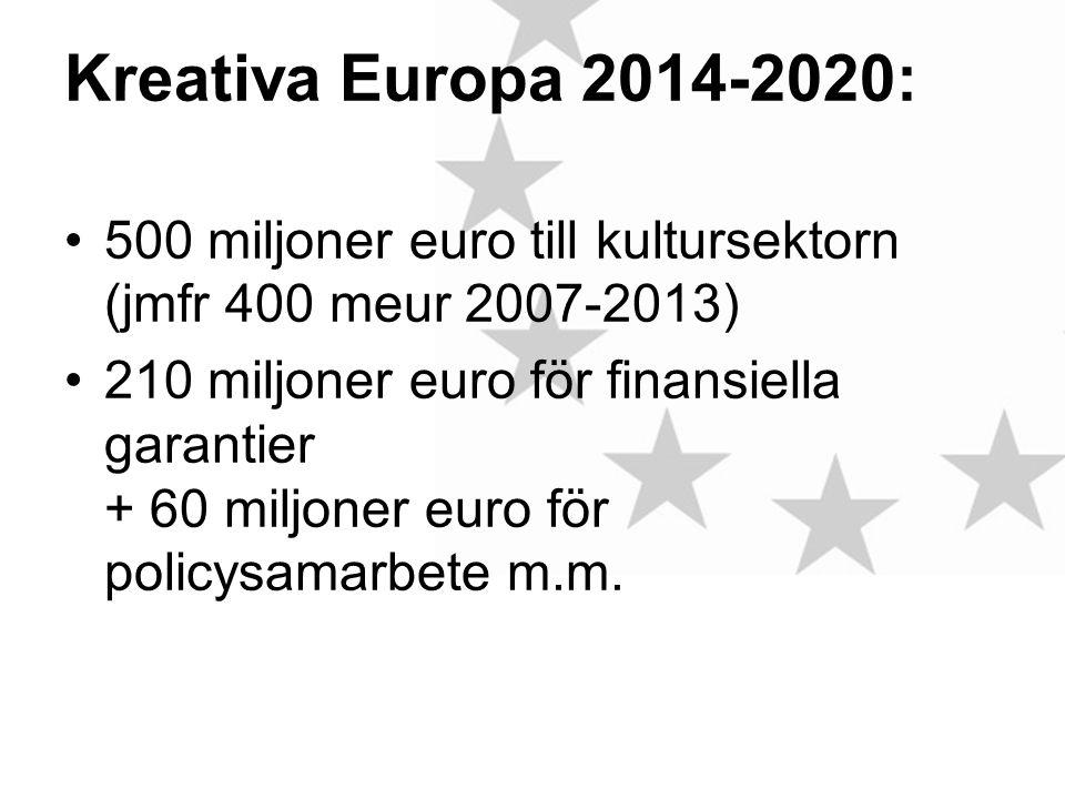 Kreativa Europa 2014-2020: •500 miljoner euro till kultursektorn (jmfr 400 meur 2007-2013) •210 miljoner euro för finansiella garantier + 60 miljoner euro för policysamarbete m.m.