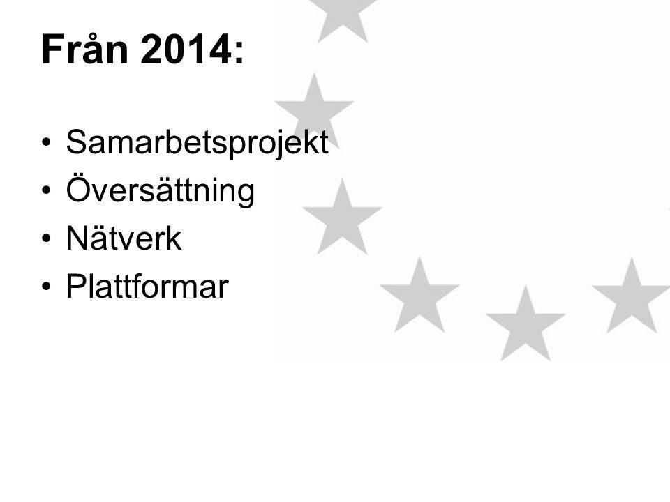 Från 2014: •Samarbetsprojekt •Översättning •Nätverk •Plattformar