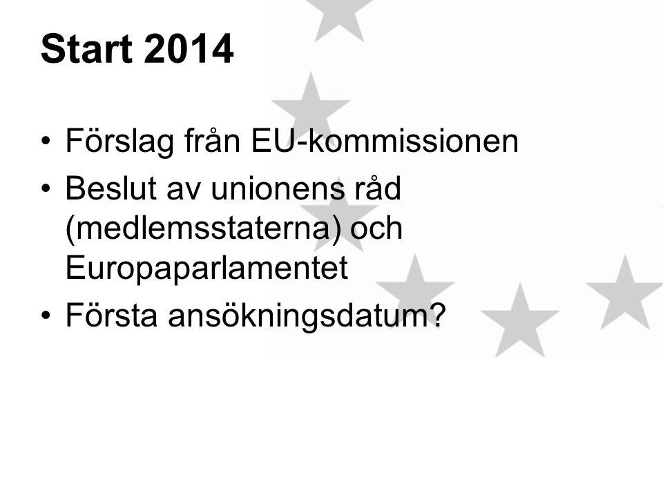 Start 2014 •Förslag från EU-kommissionen •Beslut av unionens råd (medlemsstaterna) och Europaparlamentet •Första ansökningsdatum
