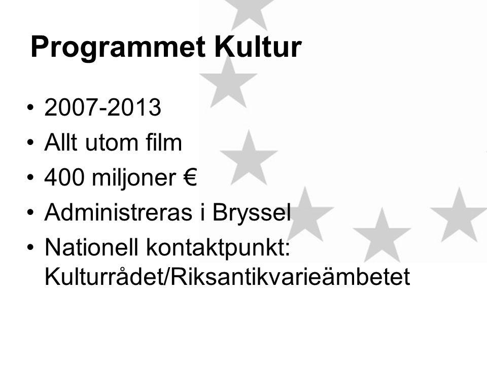 Programmet Kultur •2007-2013 •Allt utom film •400 miljoner € •Administreras i Bryssel •Nationell kontaktpunkt: Kulturrådet/Riksantikvarieämbetet