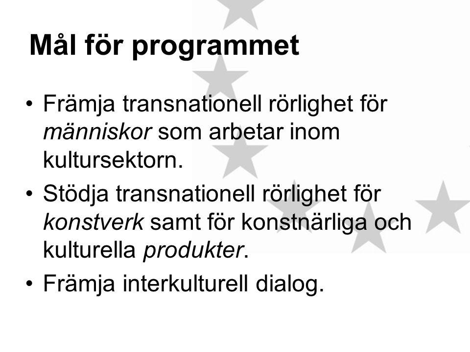 Mål för programmet •Främja transnationell rörlighet för människor som arbetar inom kultursektorn.