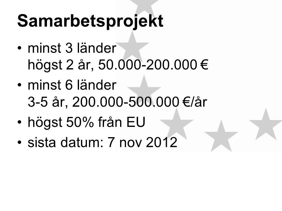 Samarbetsprojekt •minst 3 länder högst 2 år, 50.000-200.000 € •minst 6 länder 3-5 år, 200.000-500.000 €/år •högst 50% från EU •sista datum: 7 nov 2012