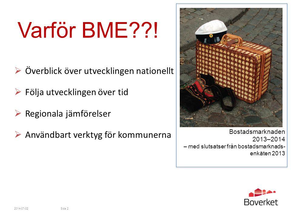 Varför BME??!  Överblick över utvecklingen nationellt  Följa utvecklingen över tid  Regionala jämförelser  Användbart verktyg för kommunerna 2014-