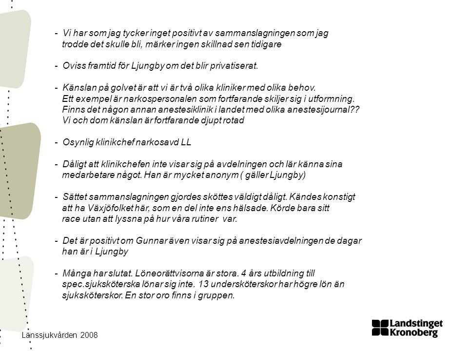 Länssjukvården 2008 - Vi har som jag tycker inget positivt av sammanslagningen som jag trodde det skulle bli, märker ingen skillnad sen tidigare - Oviss framtid för Ljungby om det blir privatiserat.