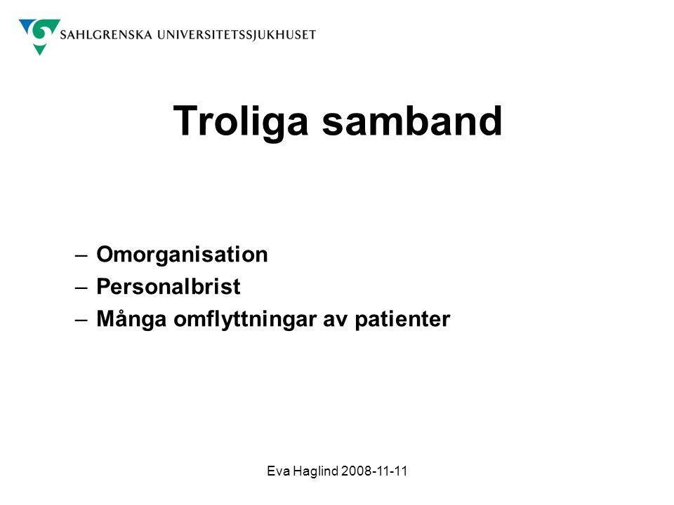 Eva Haglind 2008-11-11 Troliga samband –Omorganisation –Personalbrist –Många omflyttningar av patienter