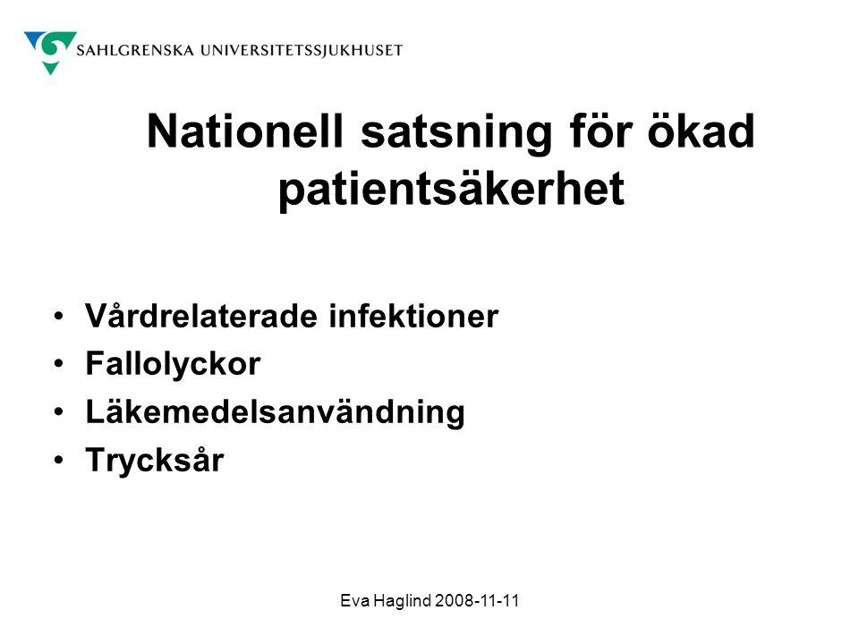 Eva Haglind 2008-11-11 Nationell satsning för ökad patientsäkerhet •Vårdrelaterade infektioner •Fallolyckor •Läkemedelsanvändning •Trycksår