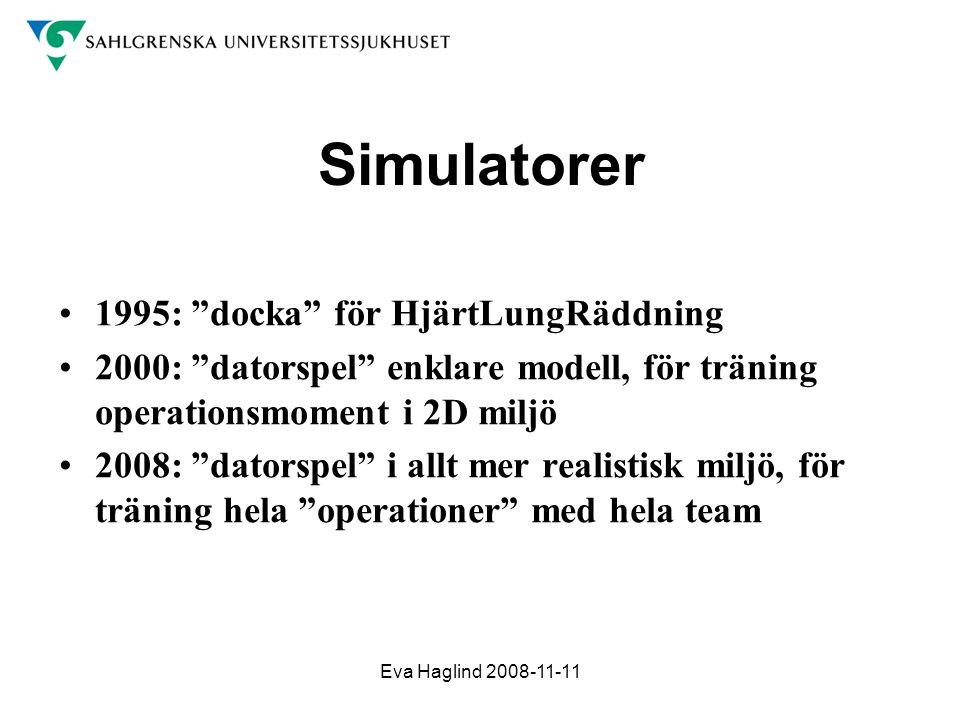 """Eva Haglind 2008-11-11 Simulatorer •1995: """"docka"""" för HjärtLungRäddning •2000: """"datorspel"""" enklare modell, för träning operationsmoment i 2D miljö •20"""