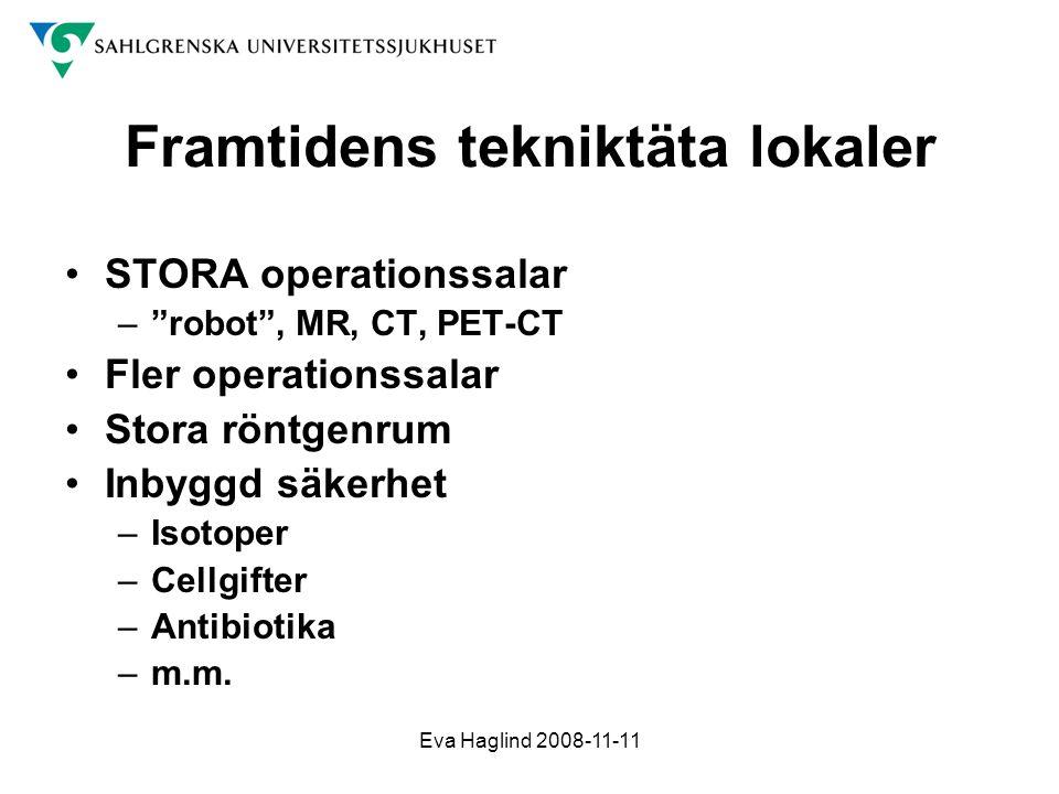 """Eva Haglind 2008-11-11 Framtidens tekniktäta lokaler •STORA operationssalar –""""robot"""", MR, CT, PET-CT •Fler operationssalar •Stora röntgenrum •Inbyggd"""