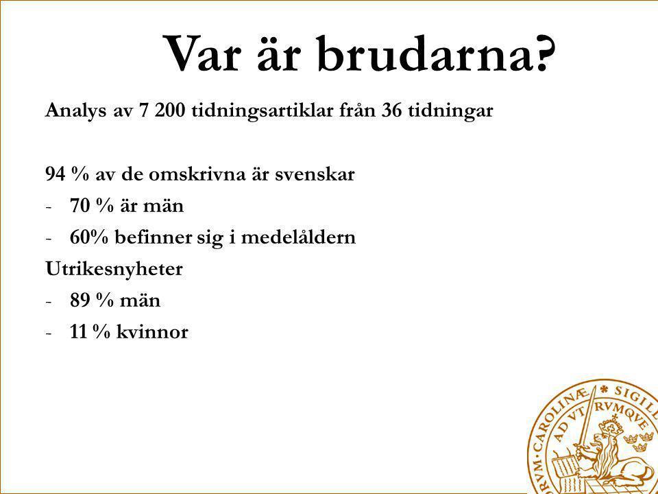 Var är brudarna? Analys av 7 200 tidningsartiklar från 36 tidningar 94 % av de omskrivna är svenskar -70 % är män -60% befinner sig i medelåldern Utri