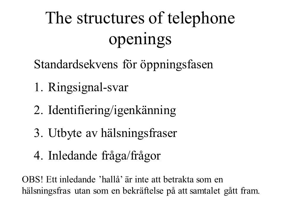 The structures of telephone openings Standardsekvens för öppningsfasen 1.Ringsignal-svar 2.Identifiering/igenkänning 3.Utbyte av hälsningsfraser 4.Inl