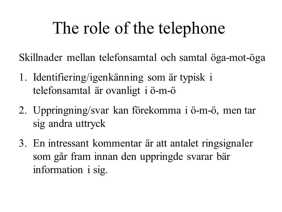 The role of the telephone Skillnader mellan telefonsamtal och samtal öga-mot-öga 1.Identifiering/igenkänning som är typisk i telefonsamtal är ovanligt