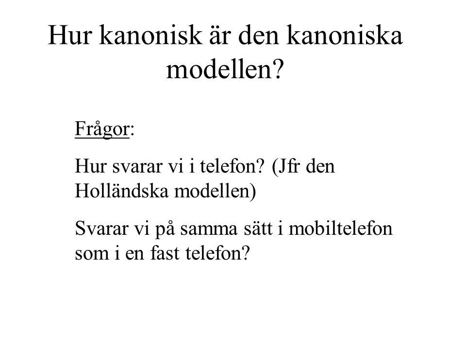 Hur kanonisk är den kanoniska modellen? Frågor: Hur svarar vi i telefon? (Jfr den Holländska modellen) Svarar vi på samma sätt i mobiltelefon som i en