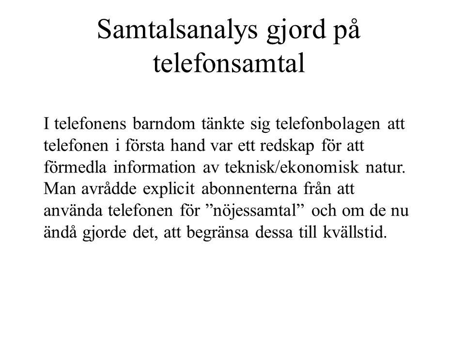 Samtalsanalys gjord på telefonsamtal I telefonens barndom tänkte sig telefonbolagen att telefonen i första hand var ett redskap för att förmedla infor