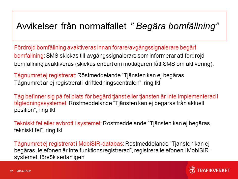 122014-07-02 Avvikelser från normalfallet Begära bomfällning Fördröjd bomfällning avaktiveras innan förare/avgångssignalerare begärt bomfällning: SMS skickas till avgångssignalerare som informerar att fördröjd bomfällning avaktiveras (skickas enbart om mottagaren fått SMS om aktivering).