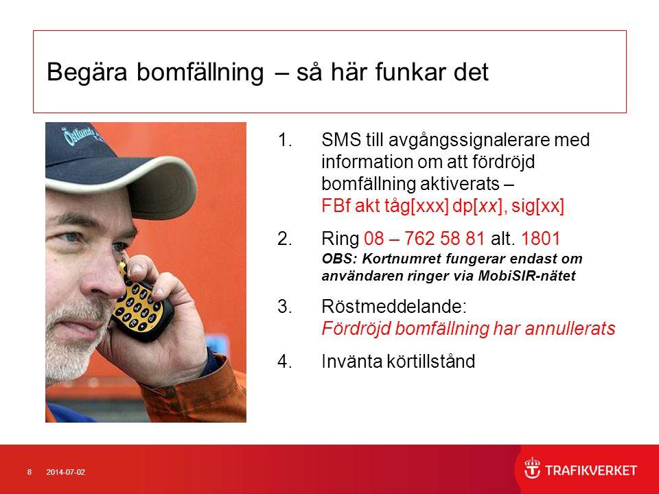 82014-07-02 Begära bomfällning – så här funkar det 1.SMS till avgångssignalerare med information om att fördröjd bomfällning aktiverats – FBf akt tåg[xxx] dp[xx], sig[xx] 2.Ring 08 – 762 58 81 alt.