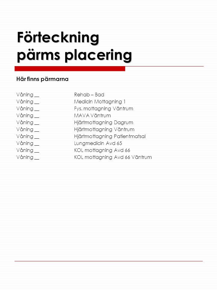 Förteckning pärms placering Här finns pärmarna Våning __Rehab – Bad Våning __Medicin Mottagning 1 Våning __Fys. mottagning Väntrum Våning __MAVA Väntr