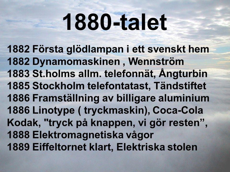 1880-talet 1882 Första glödlampan i ett svenskt hem 1882 Dynamomaskinen, Wennström 1883 St.holms allm. telefonnät, Ångturbin 1885 Stockholm telefontat
