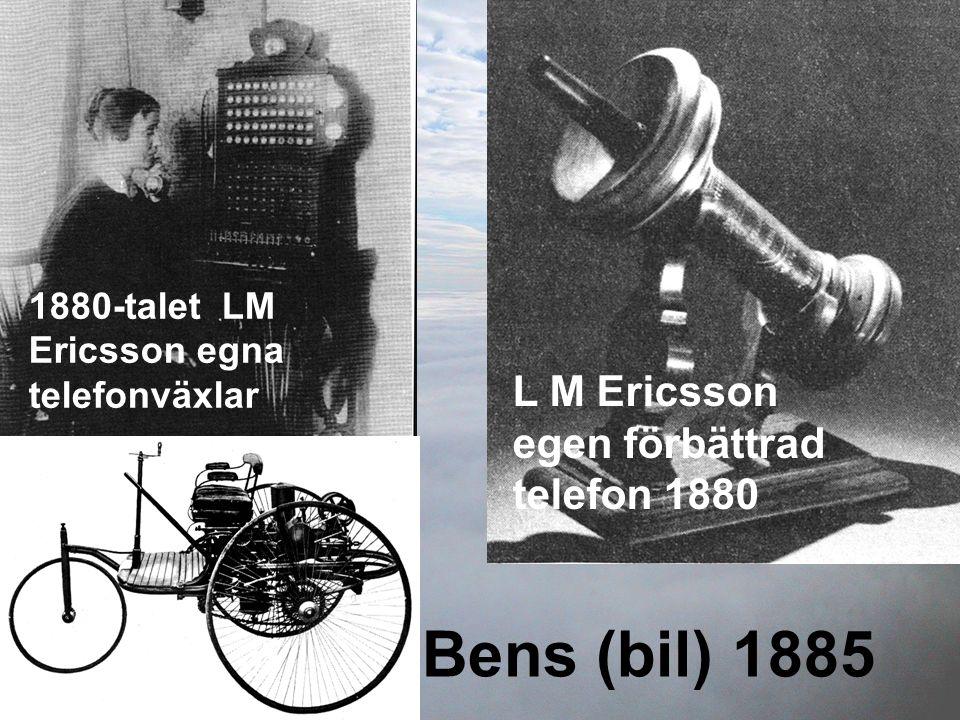 L M Ericsson egen förbättrad telefon 1880 1880-talet LM Ericsson egna telefonväxlar Bens (bil) 1885