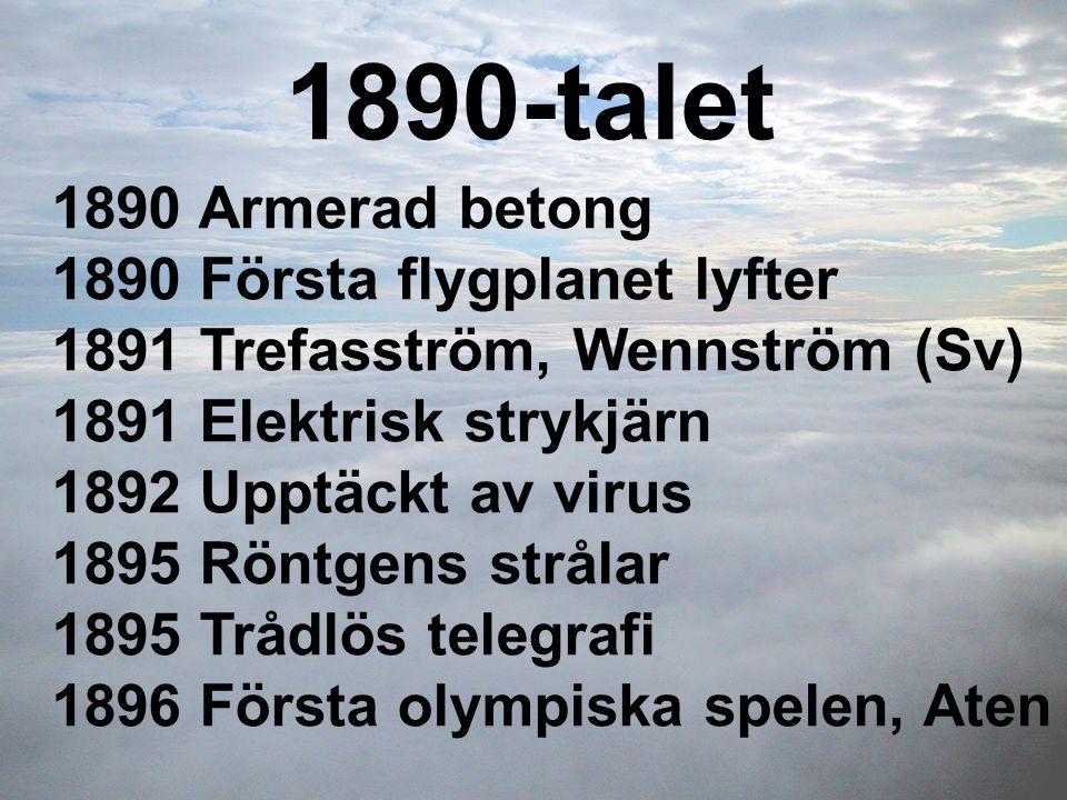 1890-talet 1890 Armerad betong 1890 Första flygplanet lyfter 1891 Trefasström, Wennström (Sv) 1891 Elektrisk strykjärn 1892 Upptäckt av virus 1895 Rön