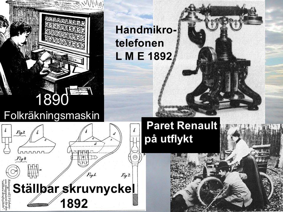 Handmikro- telefonen L M E 1892 Ställbar skruvnyckel 1892 1890 Folkräkningsmaskin Paret Renault på utflykt