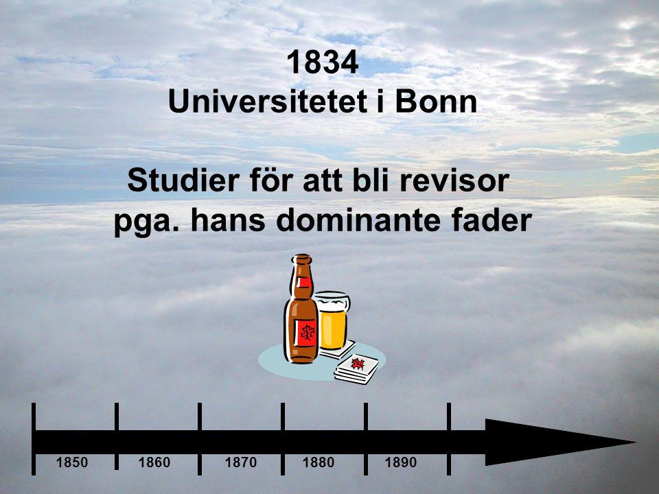 1834 Universitetet i Bonn Studier för att bli revisor pga. hans dominante fader 1850 1860 1870 1880 1890