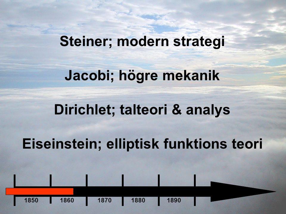 Steiner; modern strategi Jacobi; högre mekanik Dirichlet; talteori & analys Eiseinstein; elliptisk funktions teori 1850 1860 1870 1880 1890