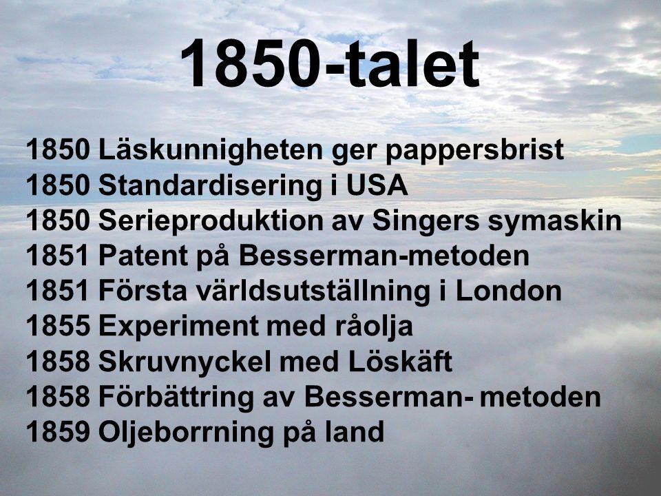 1850-talet 1850 Läskunnigheten ger pappersbrist 1850 Standardisering i USA 1850 Serieproduktion av Singers symaskin 1851 Patent på Besserman-metoden 1