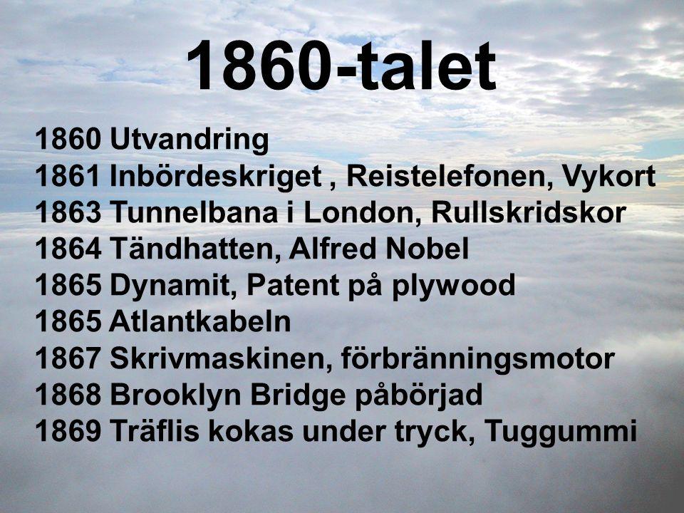 1860-talet 1860 Utvandring 1861 Inbördeskriget, Reistelefonen, Vykort 1863 Tunnelbana i London, Rullskridskor 1864 Tändhatten, Alfred Nobel 1865 Dynam
