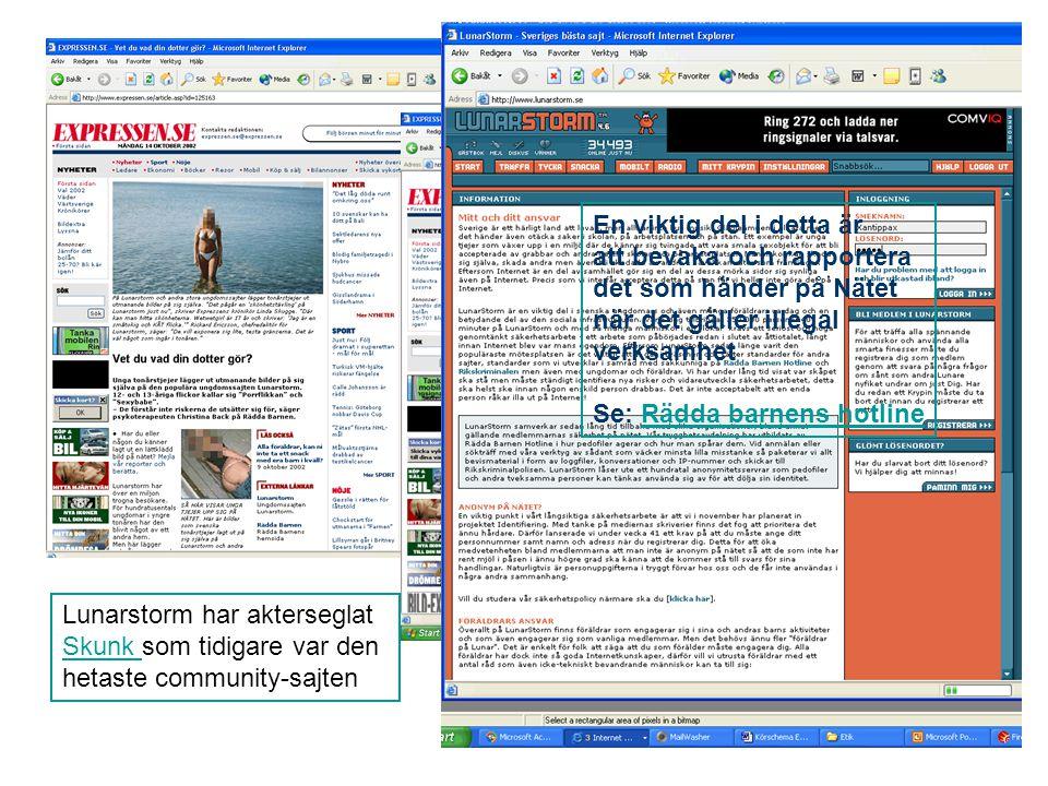 Lunarstorm har akterseglat Skunk Skunk som tidigare var den hetaste community-sajten En viktig del i detta är att bevaka och rapportera det som händer