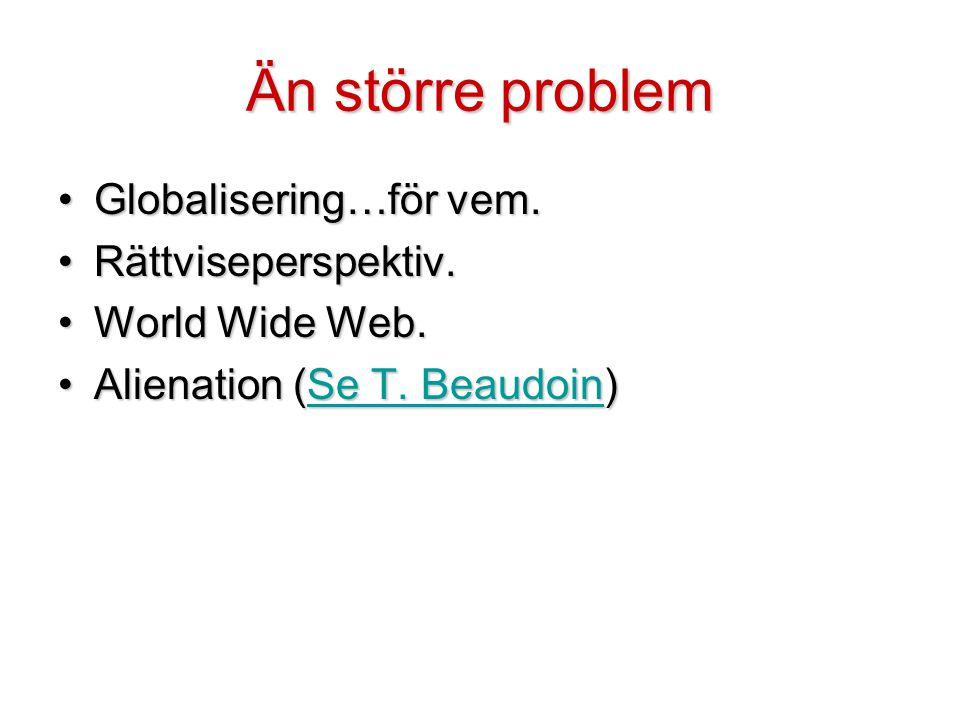 Än större problem •Globalisering…för vem. •Rättviseperspektiv. •World Wide Web. •Alienation (Se T. Beaudoin) Se T. BeaudoinSe T. Beaudoin