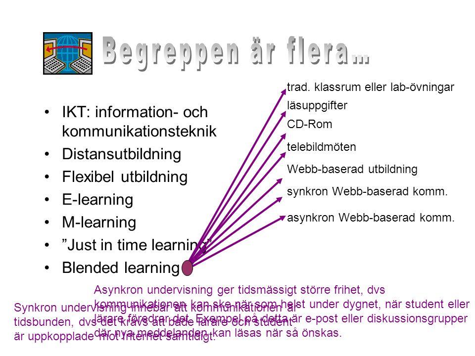 """•IKT: information- och kommunikationsteknik •Distansutbildning •Flexibel utbildning •E-learning •M-learning •""""Just in time learning"""" •Blended learning"""