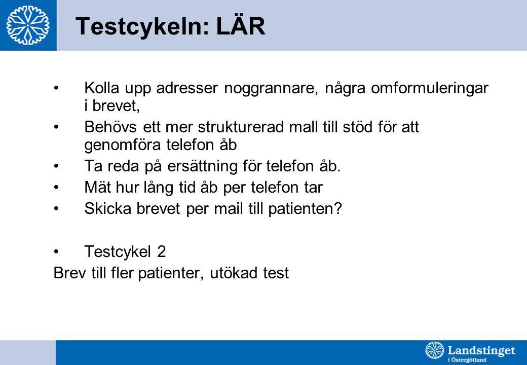 Testcykeln: LÄR •Kolla upp adresser noggrannare, några omformuleringar i brevet, •Behövs ett mer strukturerad mall till stöd för att genomföra telefon