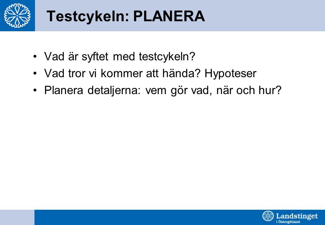 Testcykeln: PLANERA •Vad är syftet med testcykeln? •Vad tror vi kommer att hända? Hypoteser •Planera detaljerna: vem gör vad, när och hur?