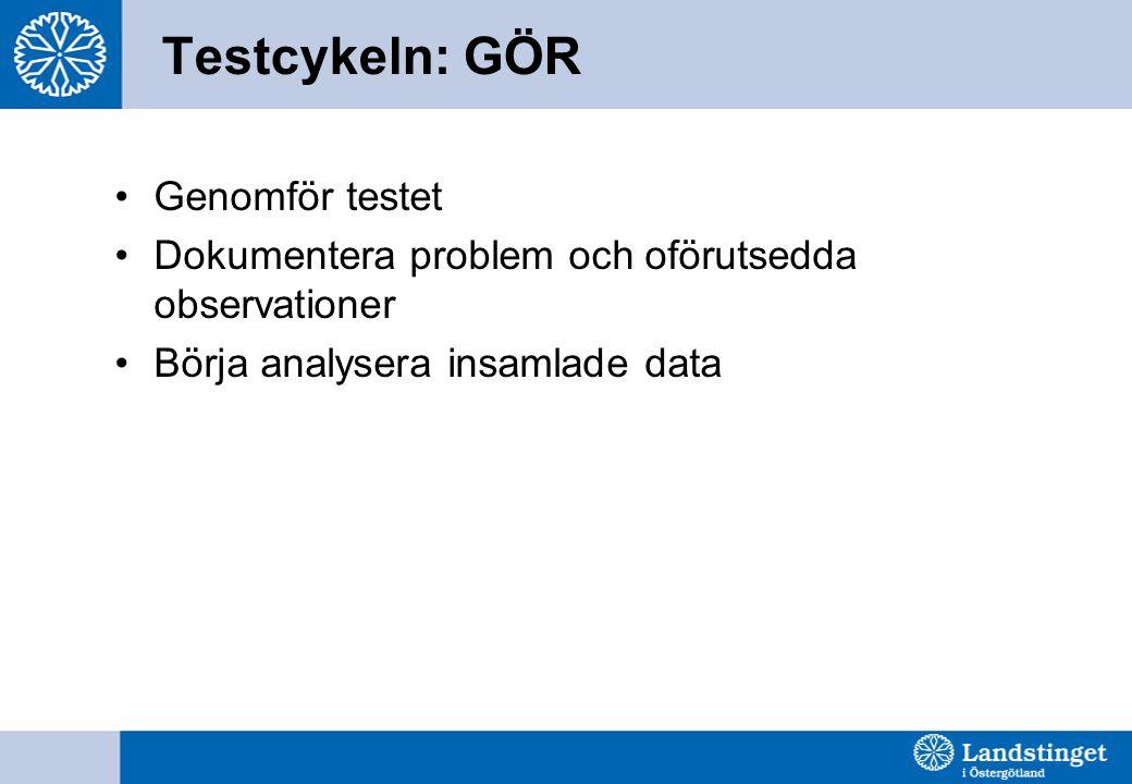Testcykeln: GÖR •Genomför testet •Dokumentera problem och oförutsedda observationer •Börja analysera insamlade data