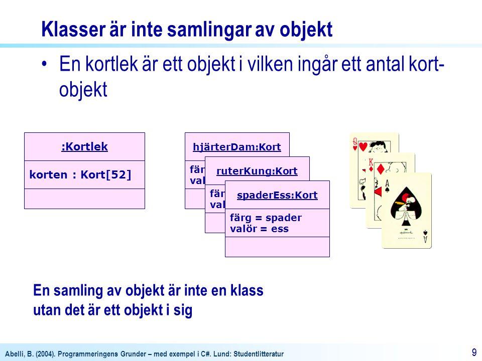 Abelli, B. (2004). Programmeringens Grunder – med exempel i C#. Lund: Studentlitteratur 99 Klasser är inte samlingar av objekt •En kortlek är ett obje