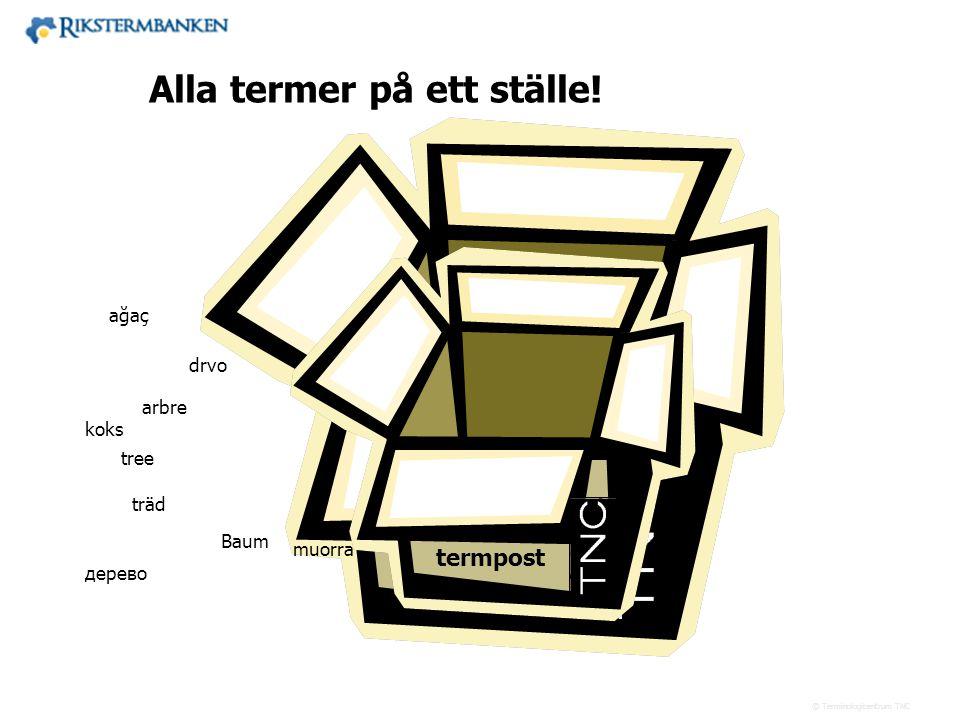 Västra vägen 7 B 169 61 Solna Telefon: 08-446 66 00 Telefax: 08-446 66 29 Webbplats: www.tnc.se E-post: tnc@tnc.se © Terminologicentrum TNC Rikstermba