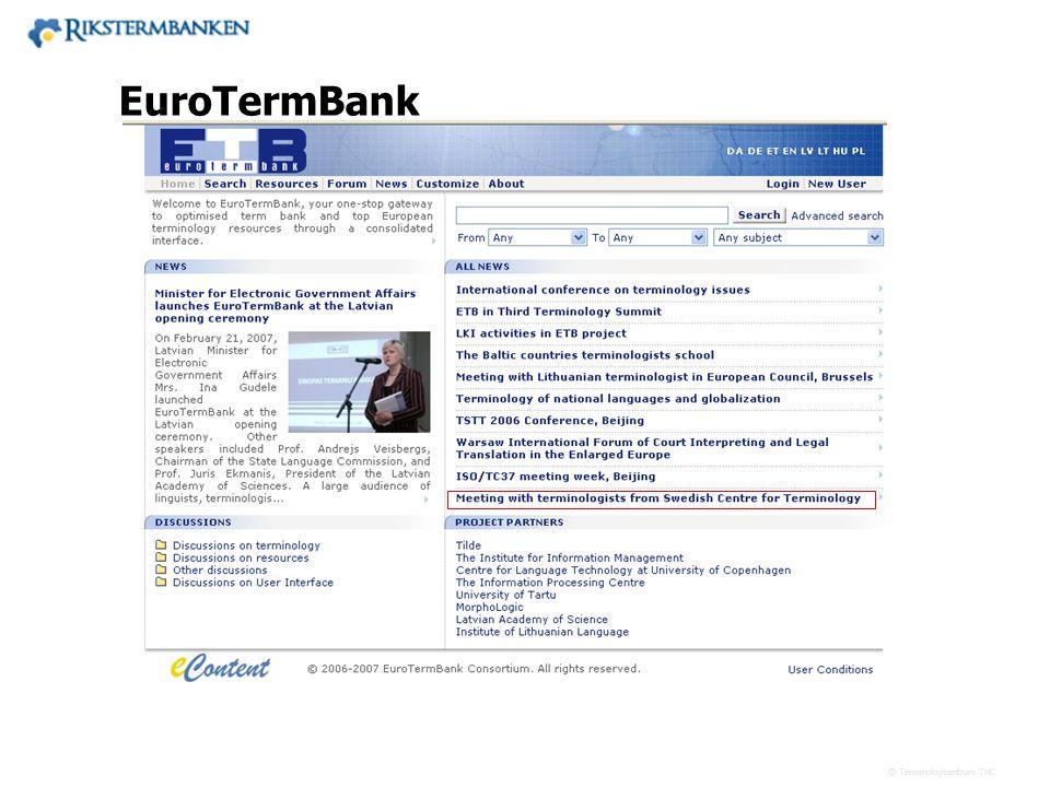 Västra vägen 7 B 169 61 Solna Telefon: 08-446 66 00 Telefax: 08-446 66 29 Webbplats: www.tnc.se E-post: tnc@tnc.se © Terminologicentrum TNC EuroTermBa