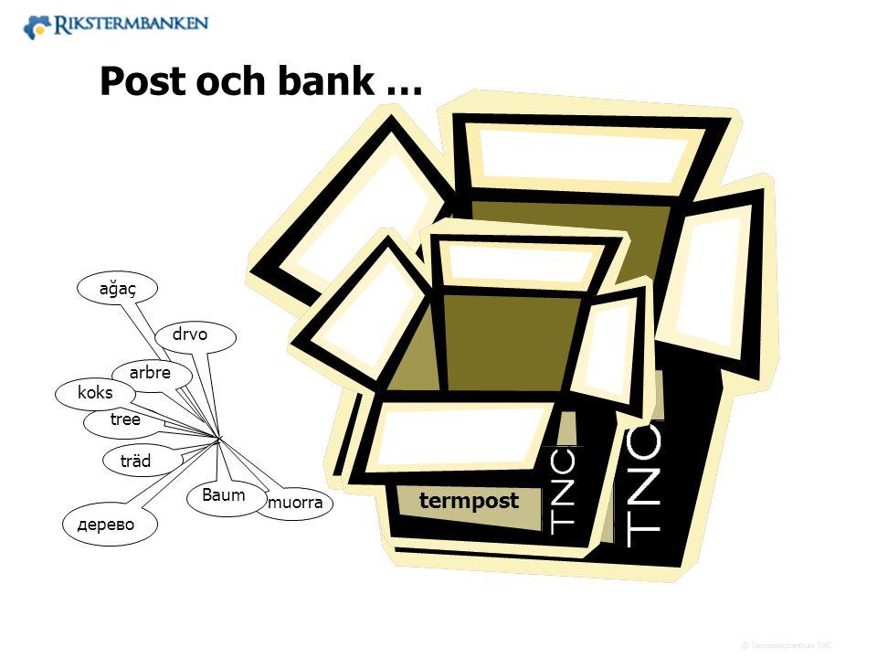 Västra vägen 7 B 169 61 Solna Telefon: 08-446 66 00 Telefax: 08-446 66 29 Webbplats: www.tnc.se E-post: tnc@tnc.se © Terminologicentrum TNC termbank t