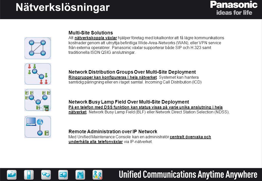 Nätverkslösningar Multi-Site Solutions Att nätverkskoppla växlar hjälper företag med lokalkontor att få lägre kommunikations kostnader genom att utnyt