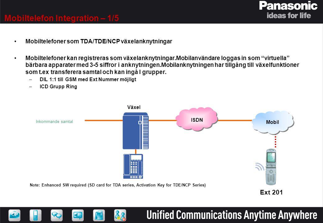 Mobiltelefon Integration – 1/5 •Mobiltelefoner som TDA/TDE/NCP växelanknytningar •Mobiltelefoner kan registreras som växelanknytningar.Mobilanvändare