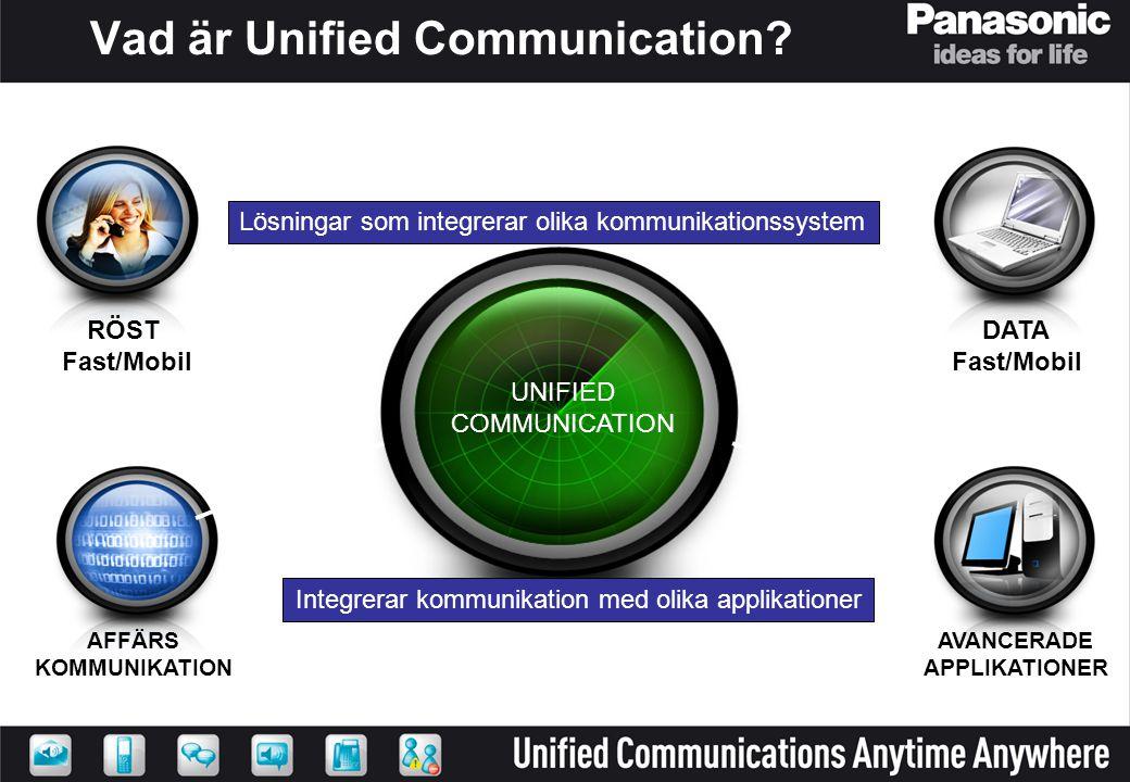 UNIFIED COMMUNICATION Vad är Unified Communication? RÖST Fast/Mobil AFFÄRS KOMMUNIKATION AVANCERADE APPLIKATIONER DATA Fast/Mobil Integrerar kommunika