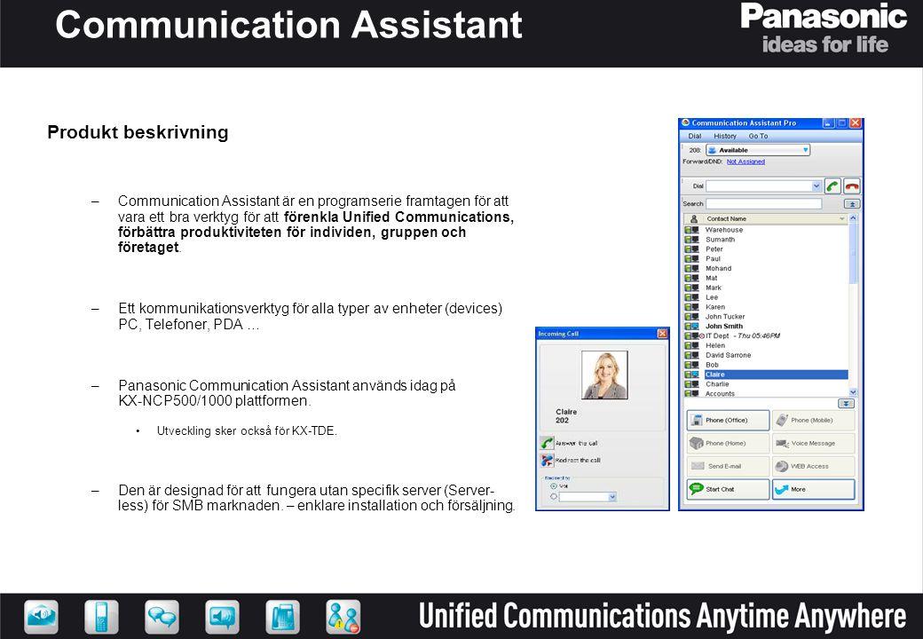Communication Assistant Produkt beskrivning –Communication Assistant är en programserie framtagen för att vara ett bra verktyg för att förenkla Unifie
