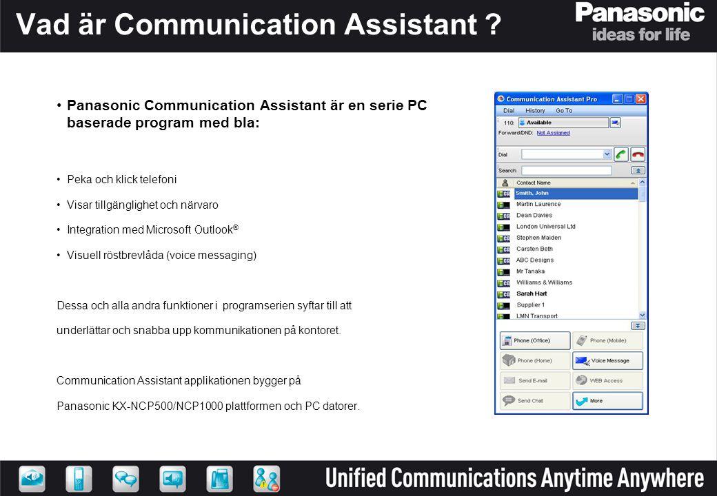 Vad är Communication Assistant ? •Panasonic Communication Assistant är en serie PC baserade program med bla: •Peka och klick telefoni •Visar tillgängl