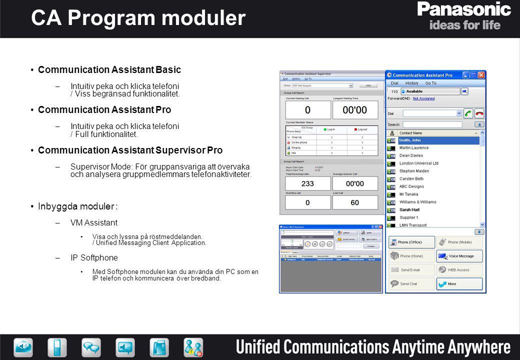 CA Program moduler •Communication Assistant Basic –Intuitiv peka och klicka telefoni / Viss begränsad funktionalitet. •Communication Assistant Pro –In