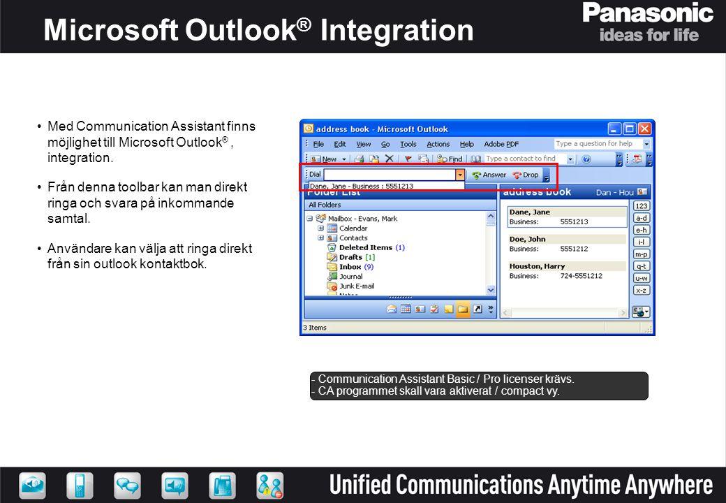 Microsoft Outlook ® Integration •Med Communication Assistant finns möjlighet till Microsoft Outlook ®, integration. •Från denna toolbar kan man direkt
