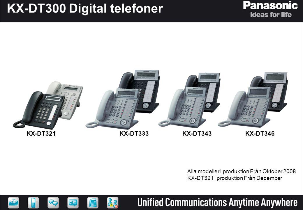 KX-DT300 Digital telefoner KX-DT321 KX-DT346KX-DT343 KX-DT333 Alla modeller i produktion Från Oktober 2008 KX-DT321 i produktion Från December