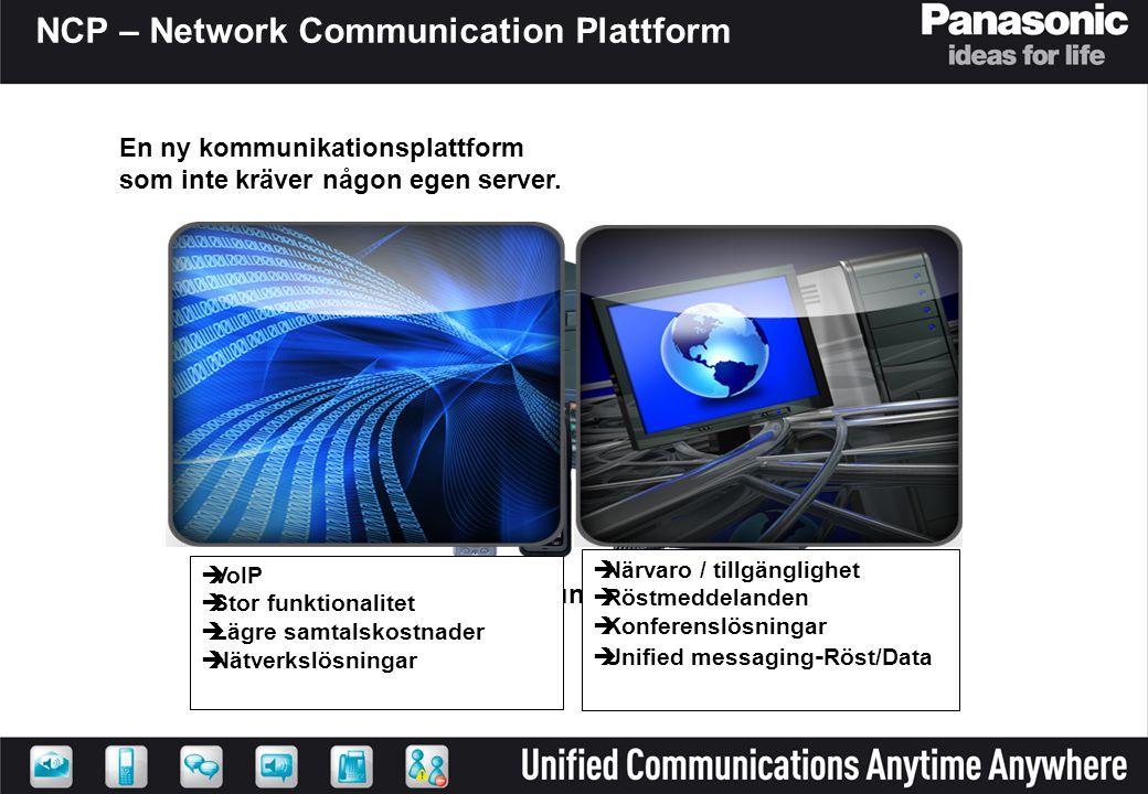 Network Communication Platform  Närvaro / tillgänglighet  Röstmeddelanden  Konferenslösningar  Unified messaging - Röst/Data  VoIP  Stor funktio
